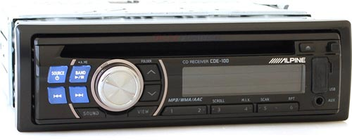 Alpine CDE-100 In-Dash CD/MP3/WMA/AAC/AM/FM Receiver with Front USB and Aux Inputs