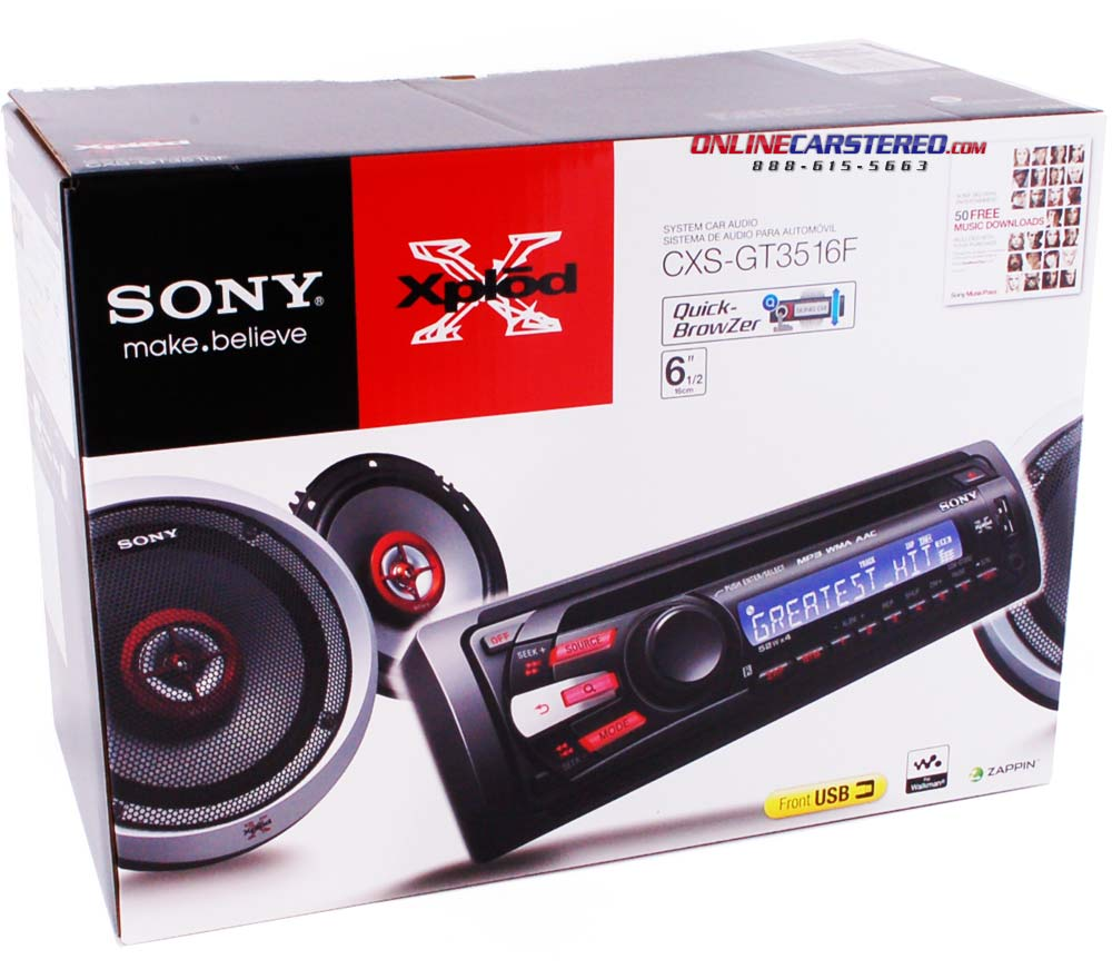 Sony Cxs Gt3516f Car Stereo Package With Single Din In Dash Cd Visonik Wiring Diagram Receiver Front Usb Auxiliary Inputs And 6 1 2 Speakers At